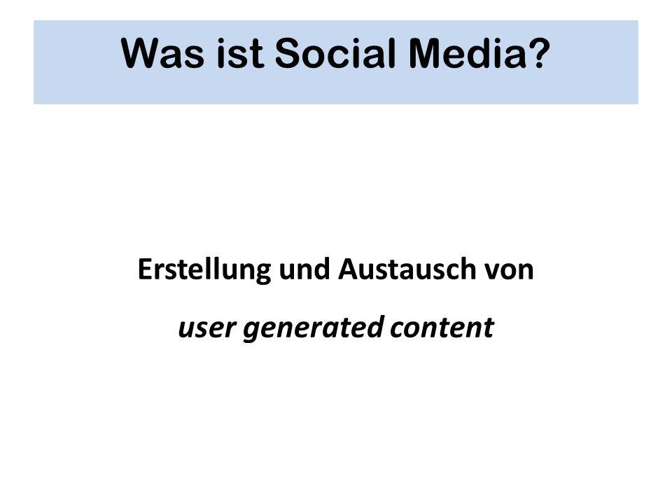 Erstellung und Austausch von user generated content