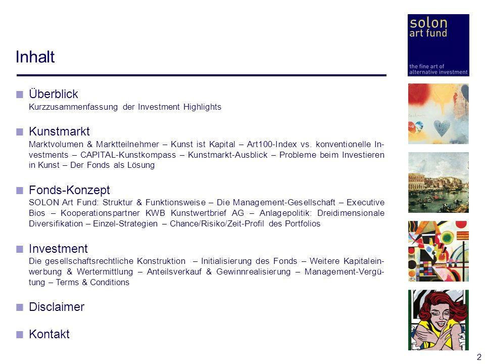 Inhalt Überblick Kunstmarkt Fonds-Konzept Investment Disclaimer