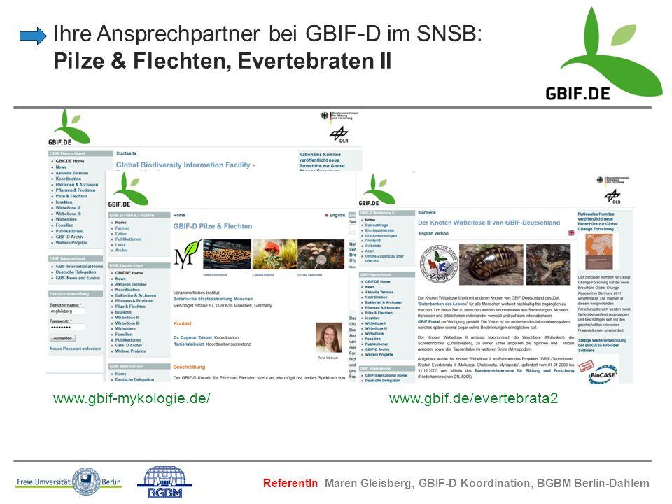 Ihre Ansprechpartner bei GBIF-D im SNSB: Pilze & Flechten, Evertebraten II