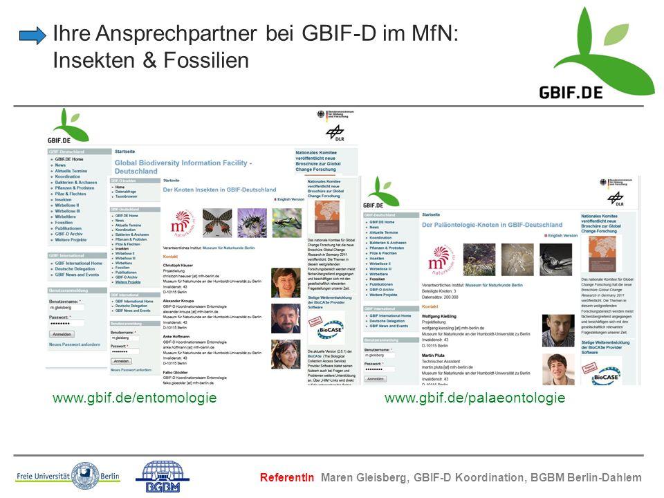 Ihre Ansprechpartner bei GBIF-D im MfN: Insekten & Fossilien