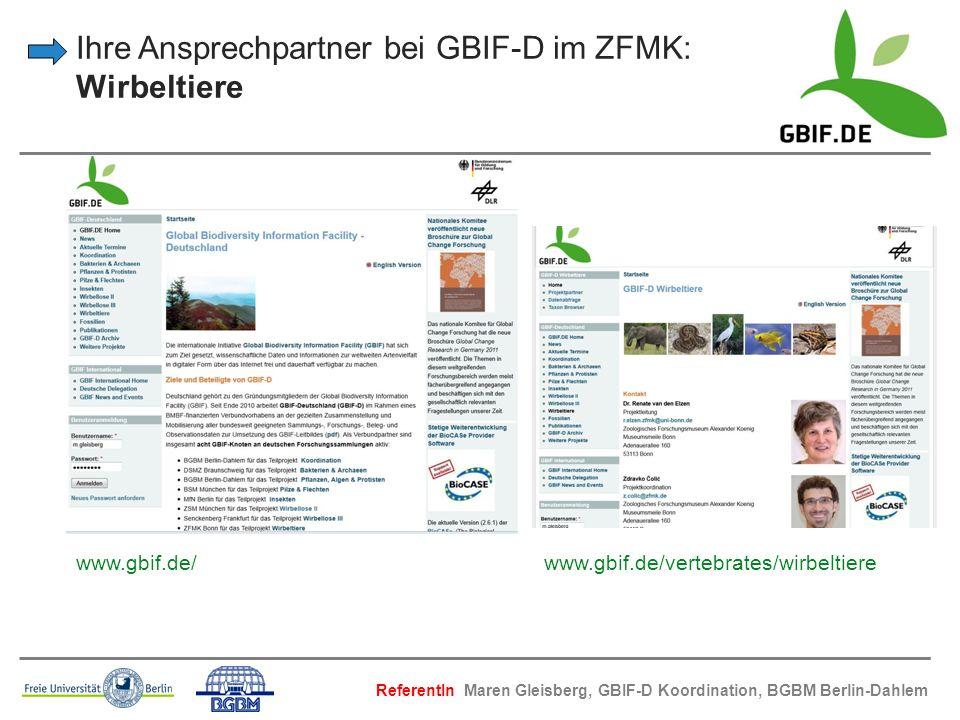 Ihre Ansprechpartner bei GBIF-D im ZFMK: Wirbeltiere