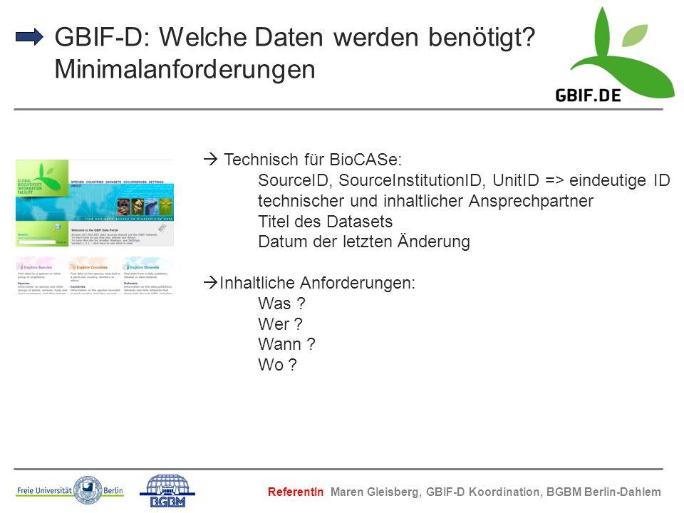GBIF-D: Welche Daten werden benötigt Minimalanforderungen