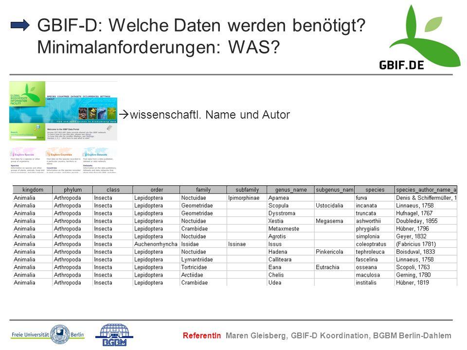 GBIF-D: Welche Daten werden benötigt Minimalanforderungen: WAS