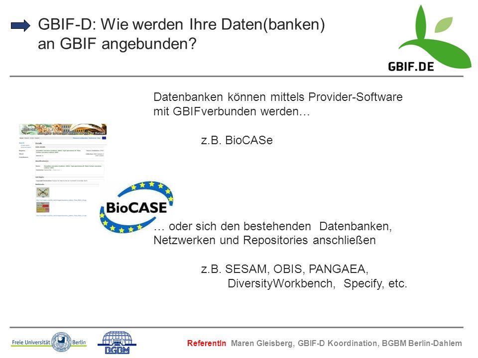 GBIF-D: Wie werden Ihre Daten(banken) an GBIF angebunden