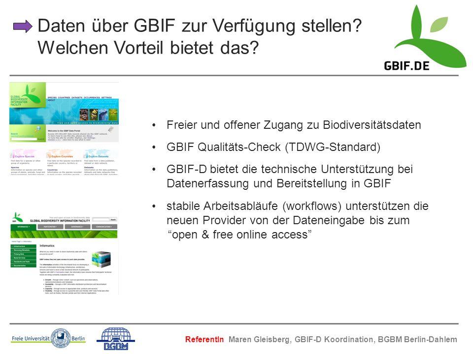 Daten über GBIF zur Verfügung stellen Welchen Vorteil bietet das