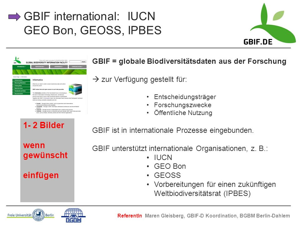 GBIF international: IUCN GEO Bon, GEOSS, IPBES
