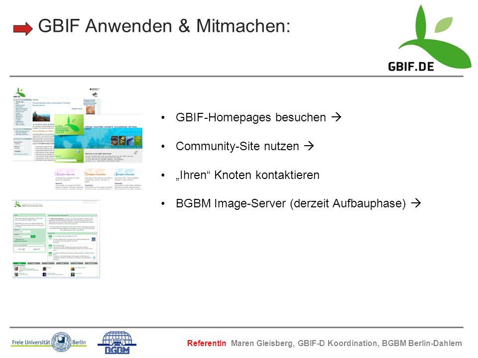 GBIF Anwenden & Mitmachen: