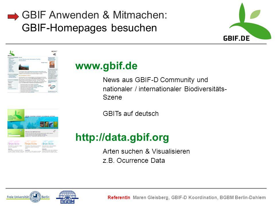 GBIF Anwenden & Mitmachen: GBIF-Homepages besuchen