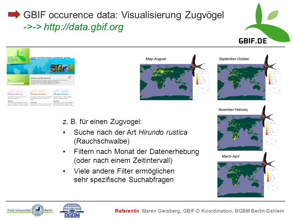 GBIF occurence data: Visualisierung Zugvögel