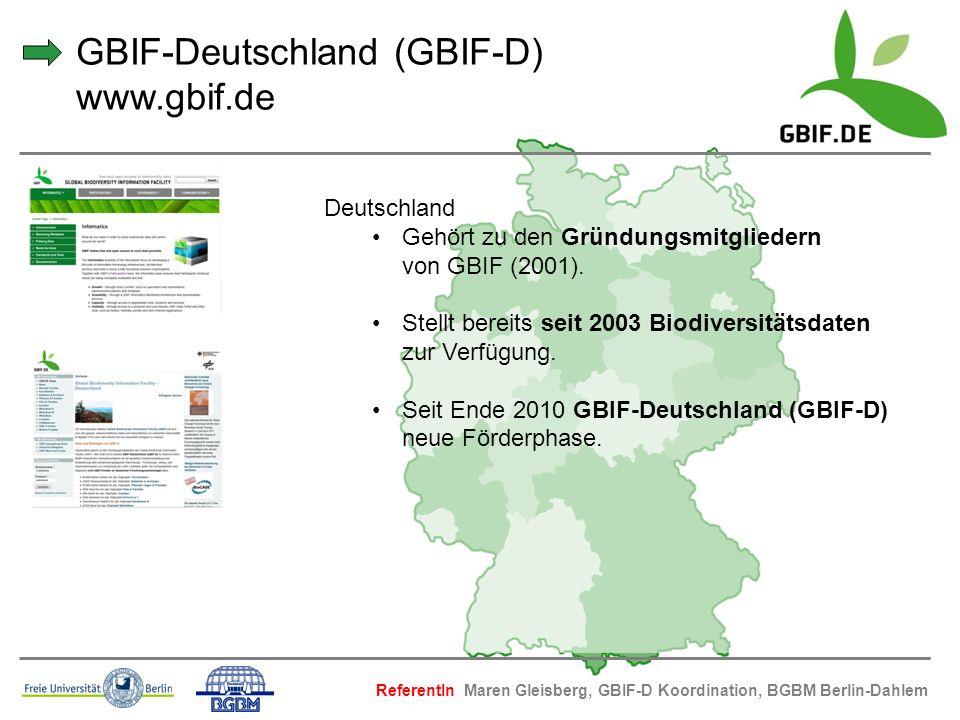 GBIF-Deutschland (GBIF-D) www.gbif.de