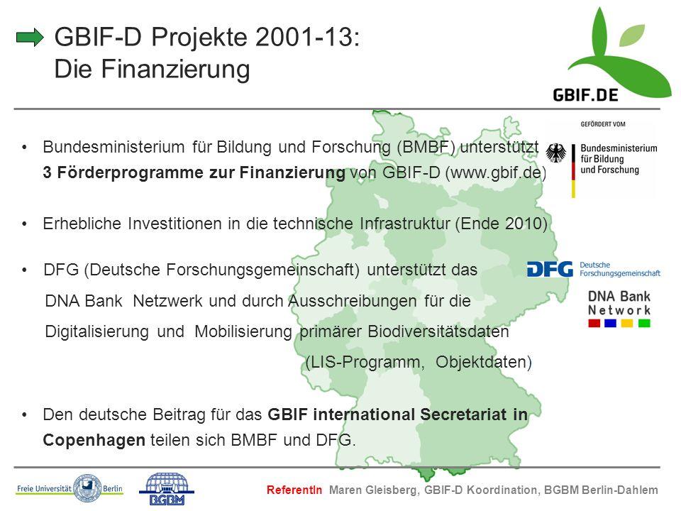 GBIF-D Projekte 2001-13: Die Finanzierung