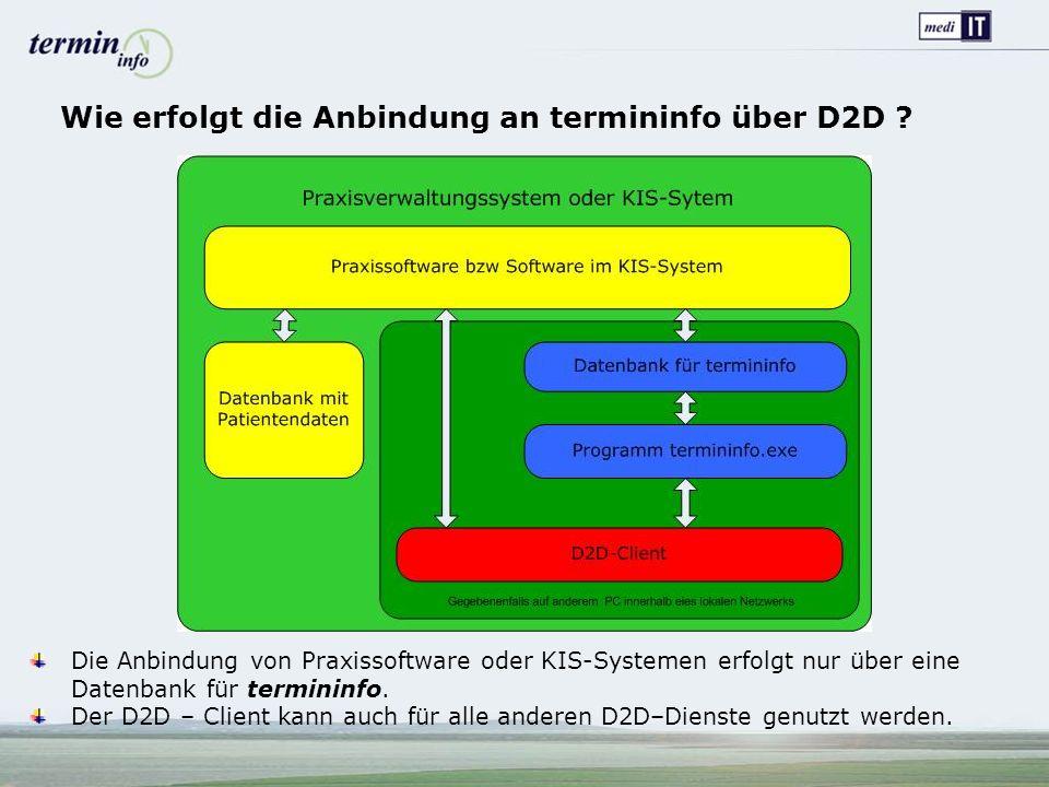 Wie erfolgt die Anbindung an termininfo über D2D