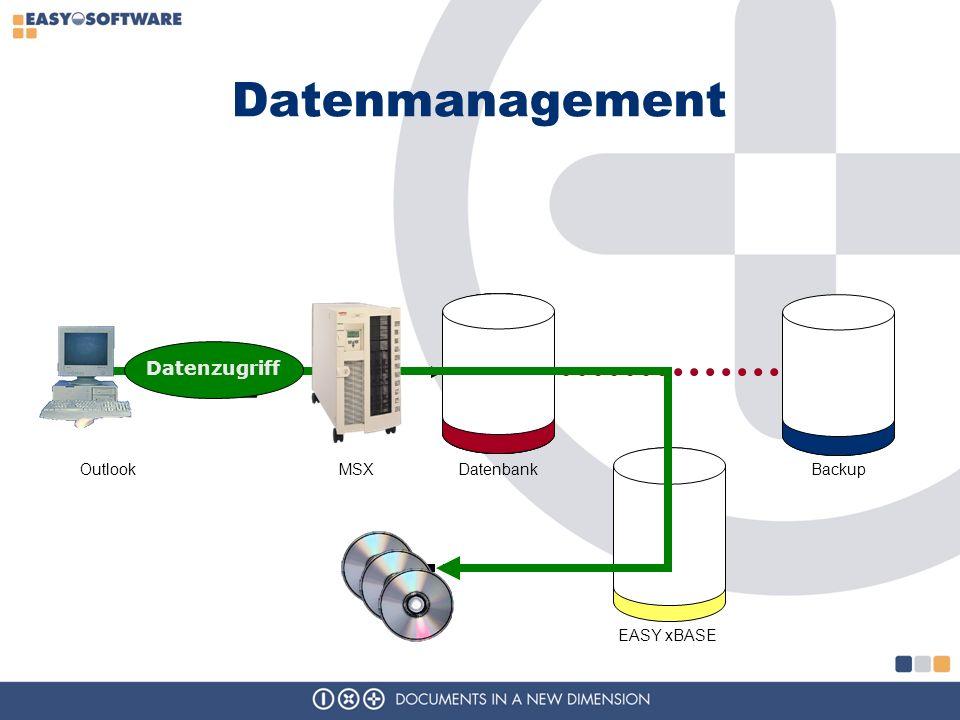 Datenmanagement Datenzugriff Outlook MSX Datenbank Backup EASY xBASE