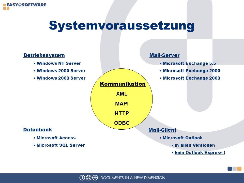 Systemvoraussetzung Betriebssystem Mail-Server Datenbank Kommunikation