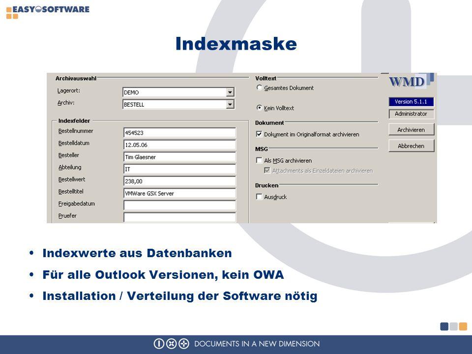 Indexmaske Indexwerte aus Datenbanken