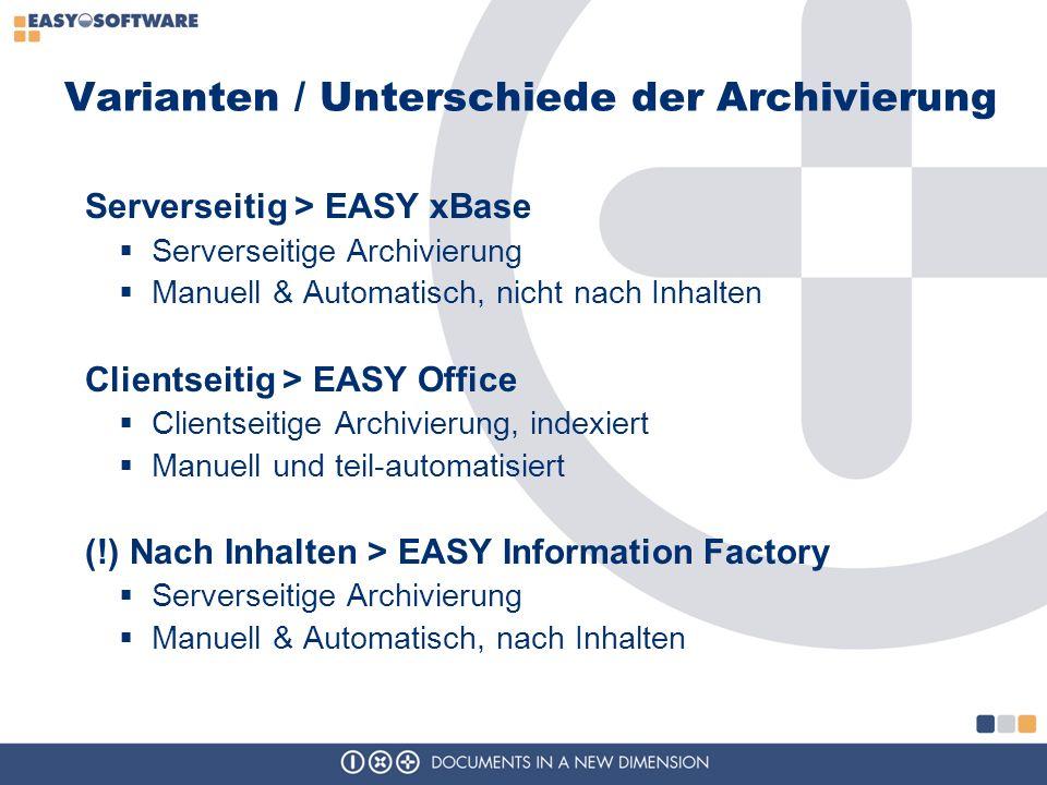 Varianten / Unterschiede der Archivierung