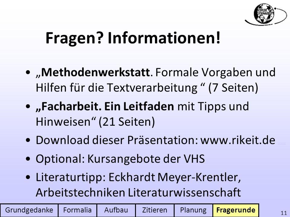 """Fragen Informationen! """"Methodenwerkstatt. Formale Vorgaben und Hilfen für die Textverarbeitung (7 Seiten)"""