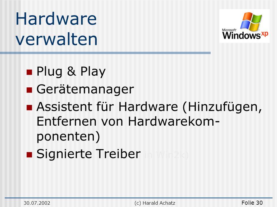 Hardware verwalten Plug & Play Gerätemanager