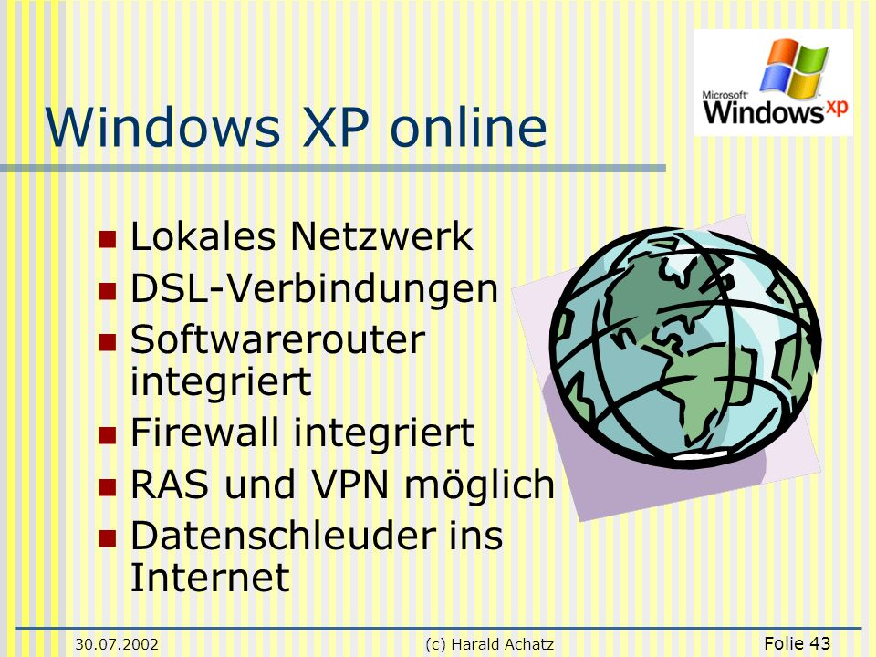 Windows XP online Lokales Netzwerk DSL-Verbindungen