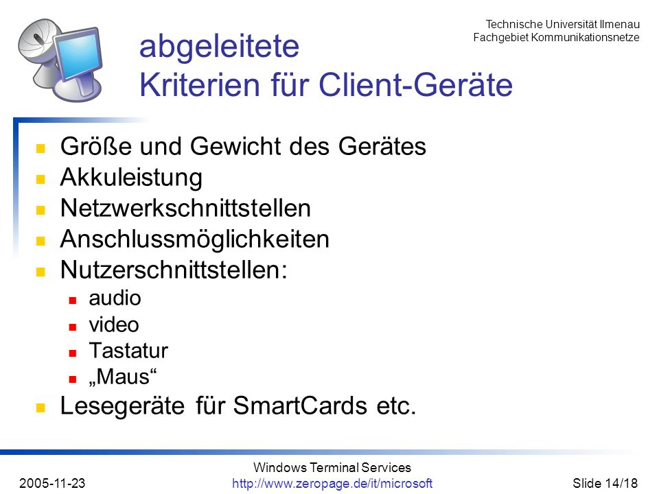 abgeleitete Kriterien für Client-Geräte