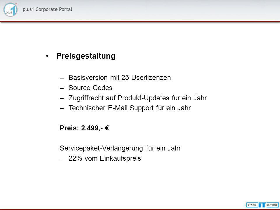 Preisgestaltung Basisversion mit 25 Userlizenzen Source Codes