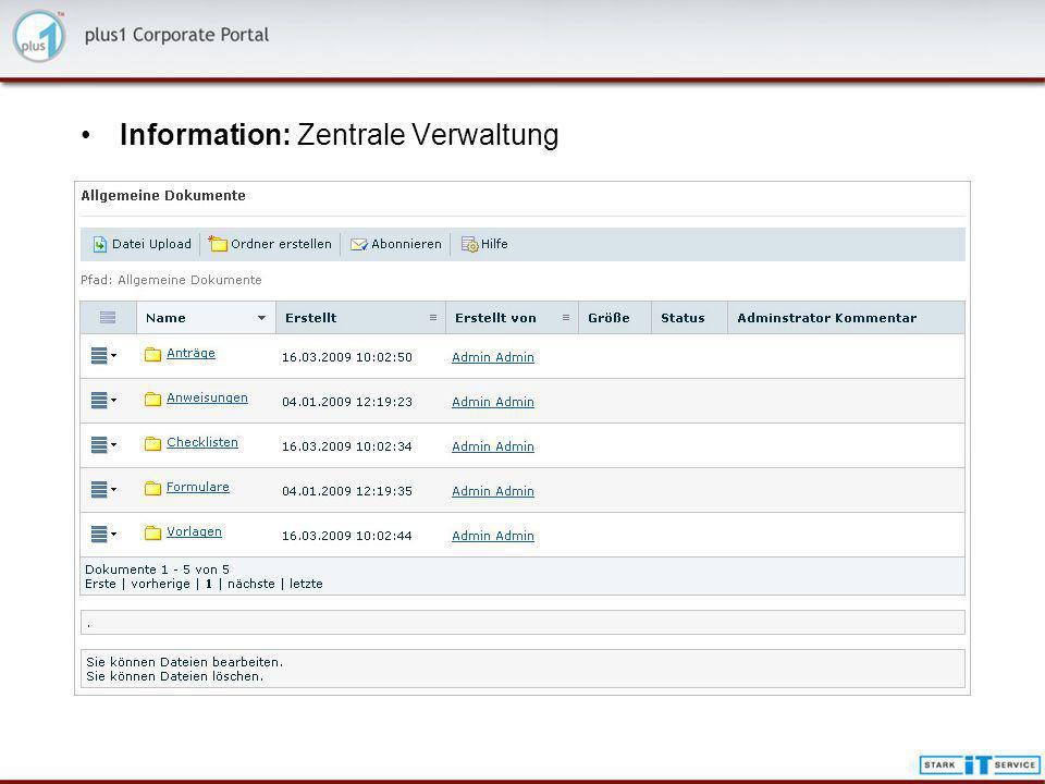 Information: Zentrale Verwaltung