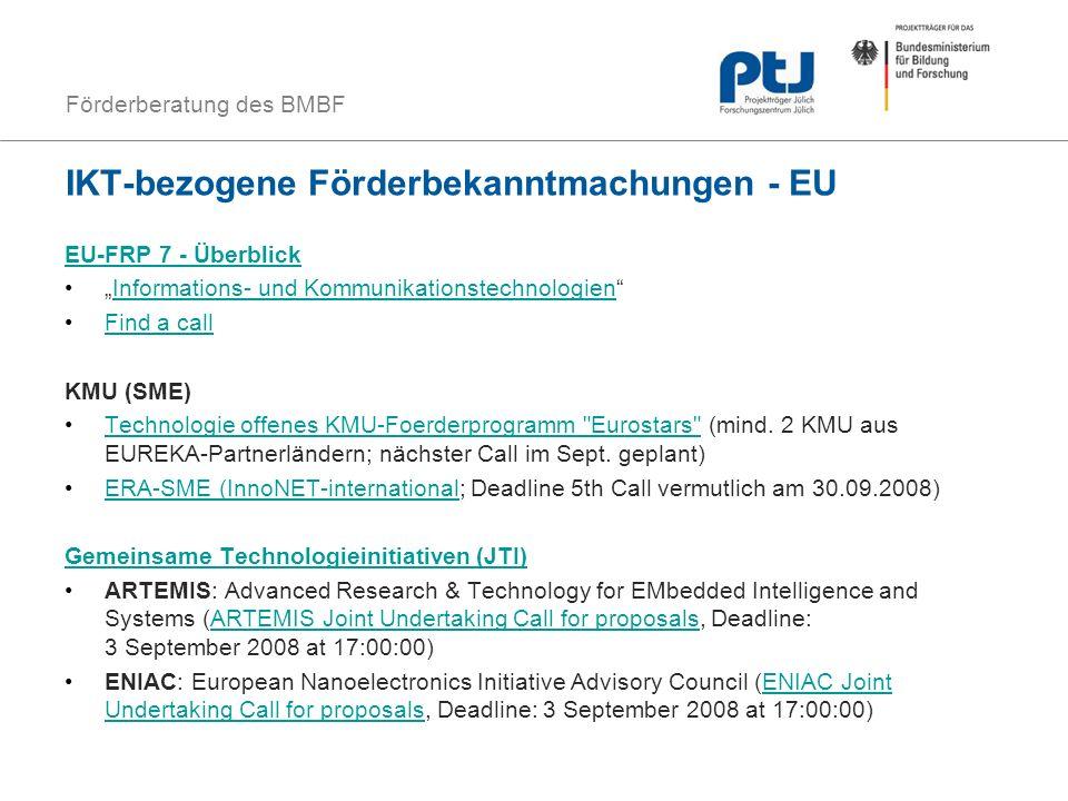 IKT-bezogene Förderbekanntmachungen - EU