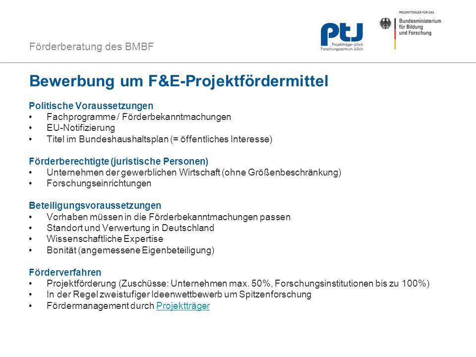 Bewerbung um F&E-Projektfördermittel