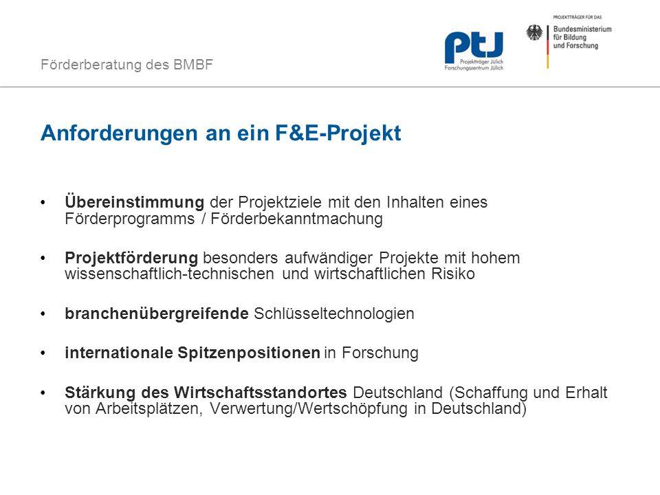 Anforderungen an ein F&E-Projekt