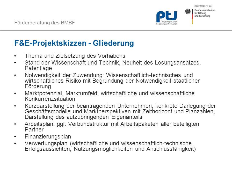 F&E-Projektskizzen - Gliederung