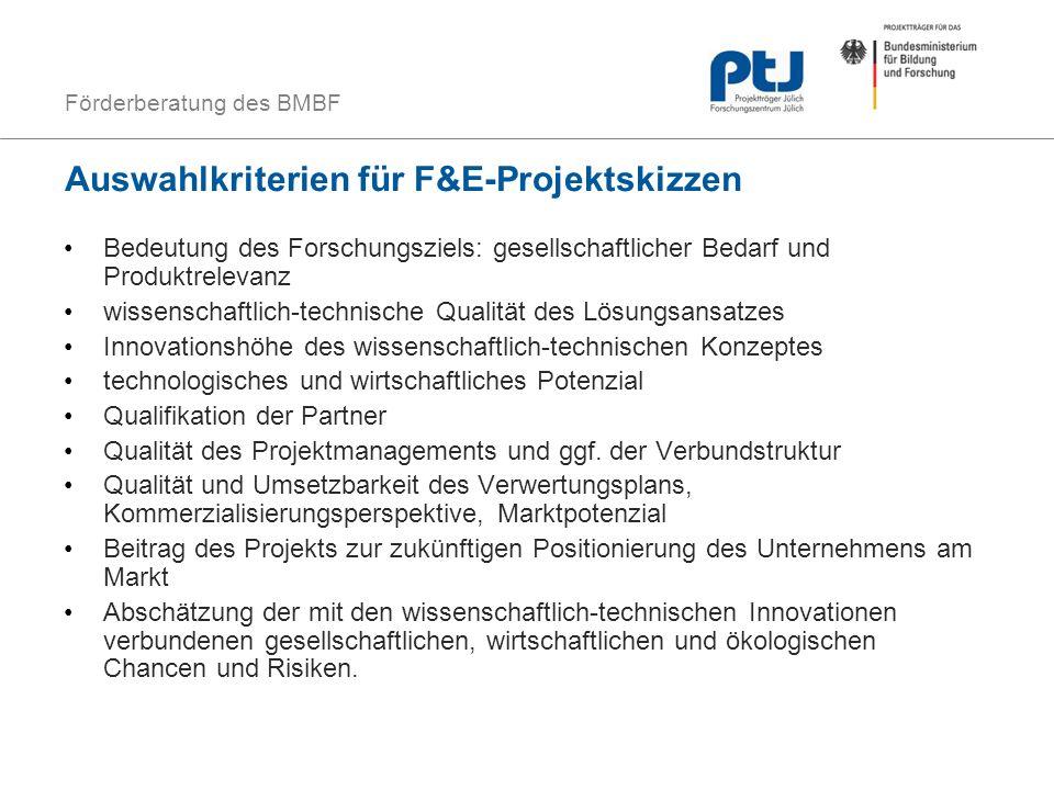 Auswahlkriterien für F&E-Projektskizzen