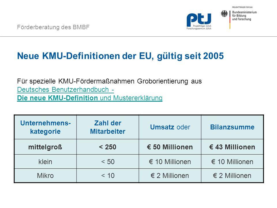 Neue KMU-Definitionen der EU, gültig seit 2005