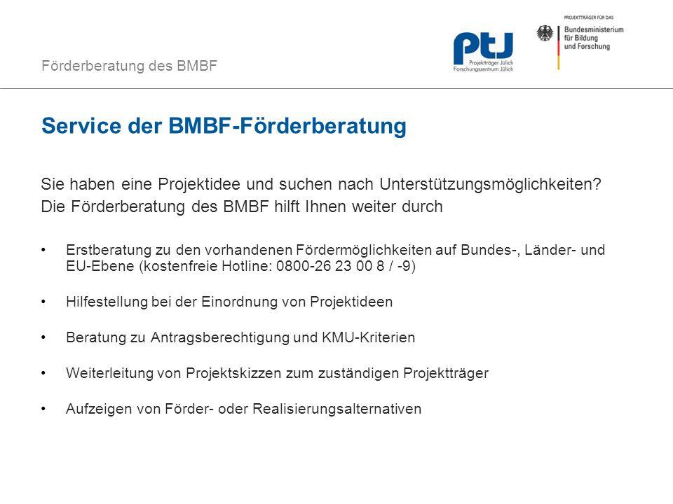 Service der BMBF-Förderberatung