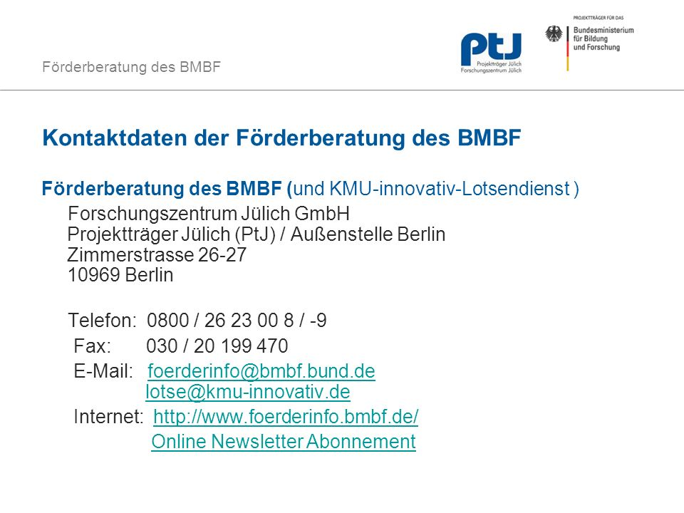 Kontaktdaten der Förderberatung des BMBF