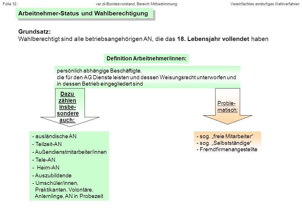 Arbeitnehmer-Status und Wahlberechtigung