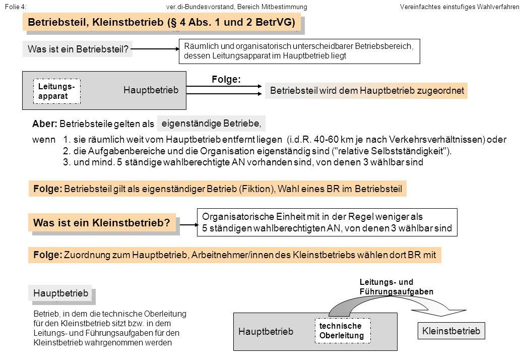 Betriebsteil, Kleinstbetrieb (§ 4 Abs. 1 und 2 BetrVG)