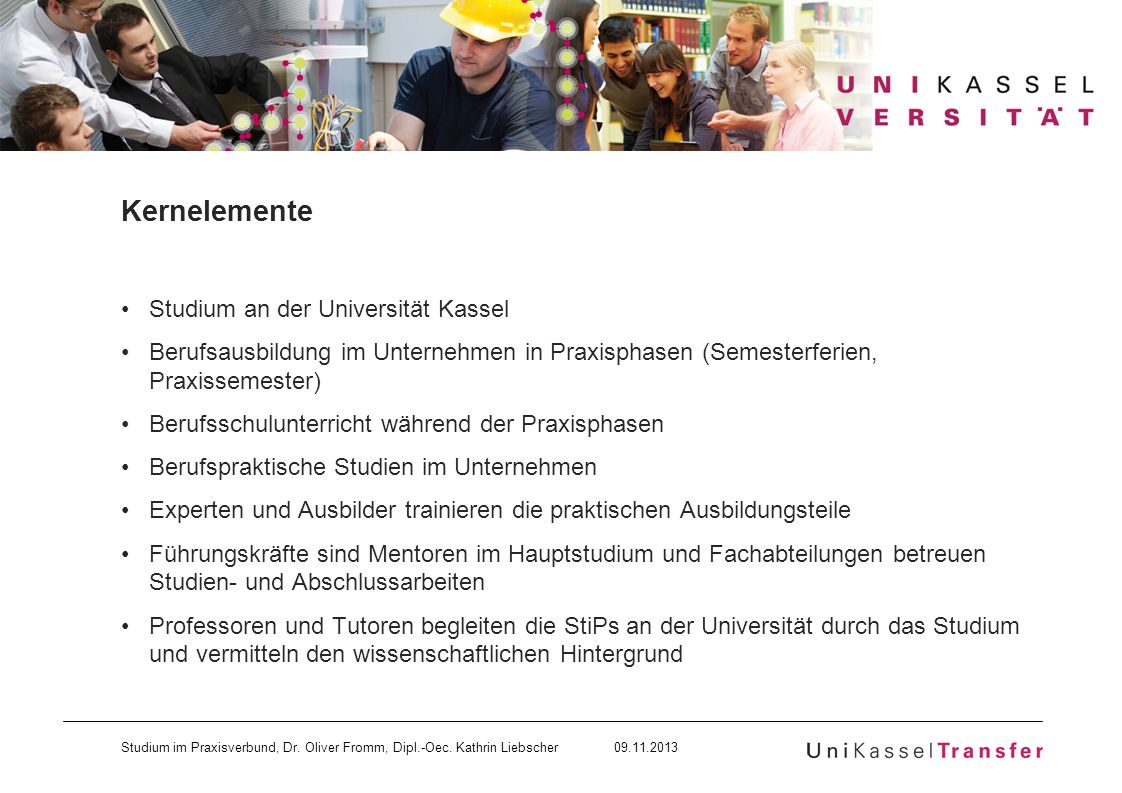 Kernelemente Studium an der Universität Kassel