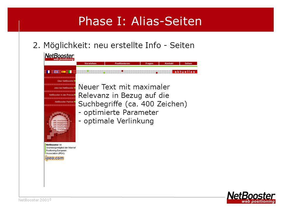 Phase I: Alias-Seiten 2. Möglichkeit: neu erstellte Info - Seiten