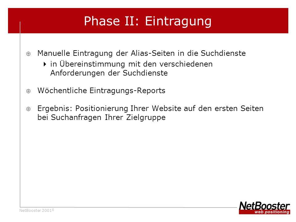 Phase II: Eintragung Manuelle Eintragung der Alias-Seiten in die Suchdienste. in Übereinstimmung mit den verschiedenen Anforderungen der Suchdienste.