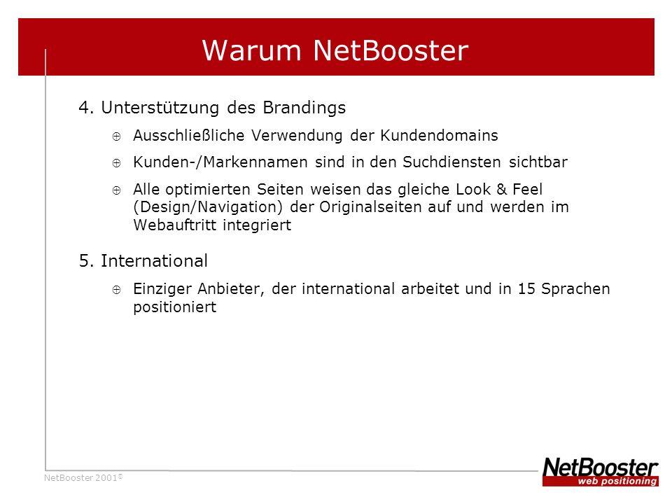 Warum NetBooster 4. Unterstützung des Brandings 5. International