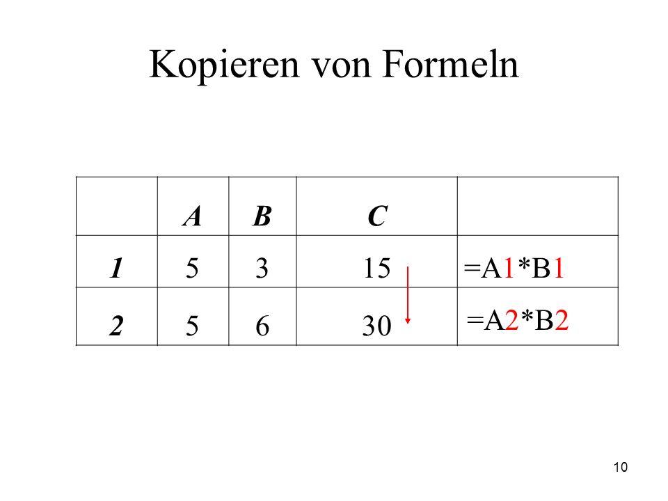 Kopieren von Formeln A B C 1 5 3 15 =A1*B1 2 6 30 =A2*B2