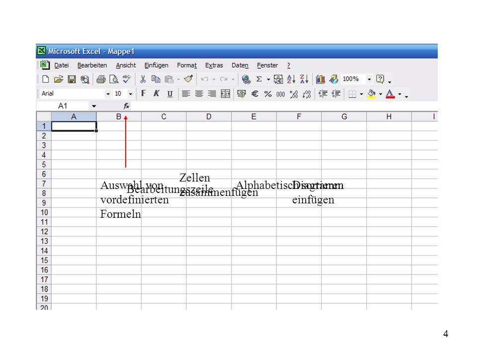 Zellen zusammenfügen Auswahl von vordefinierten Formeln. Alphabetisch sortieren. Diagramm einfügen.