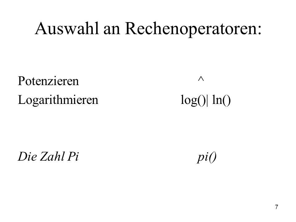 Auswahl an Rechenoperatoren: