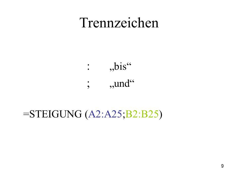 """Trennzeichen : """"bis ; """"und =STEIGUNG (A2:A25;B2:B25)"""