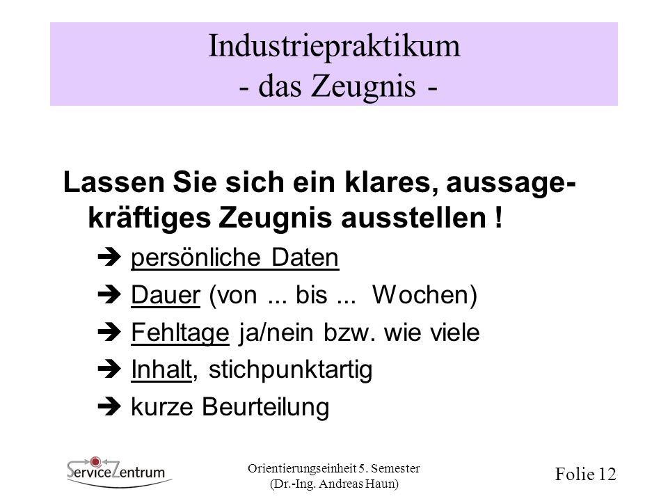 Industriepraktikum - das Zeugnis -