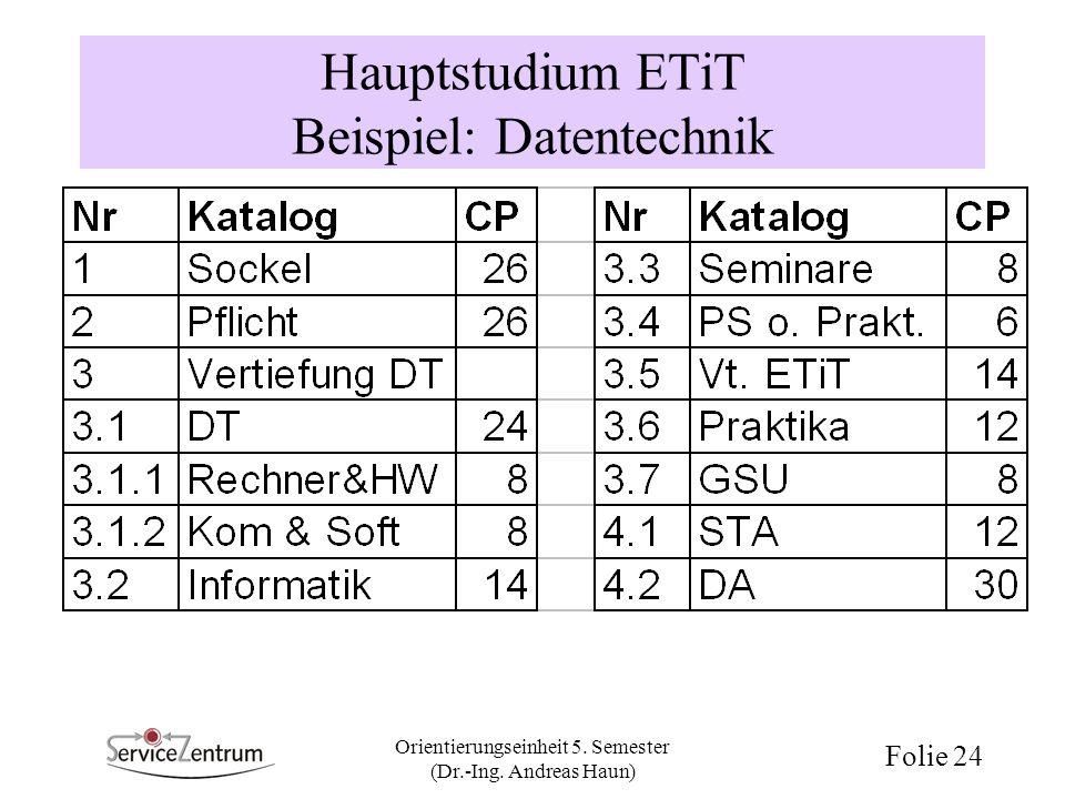 Hauptstudium ETiT Beispiel: Datentechnik