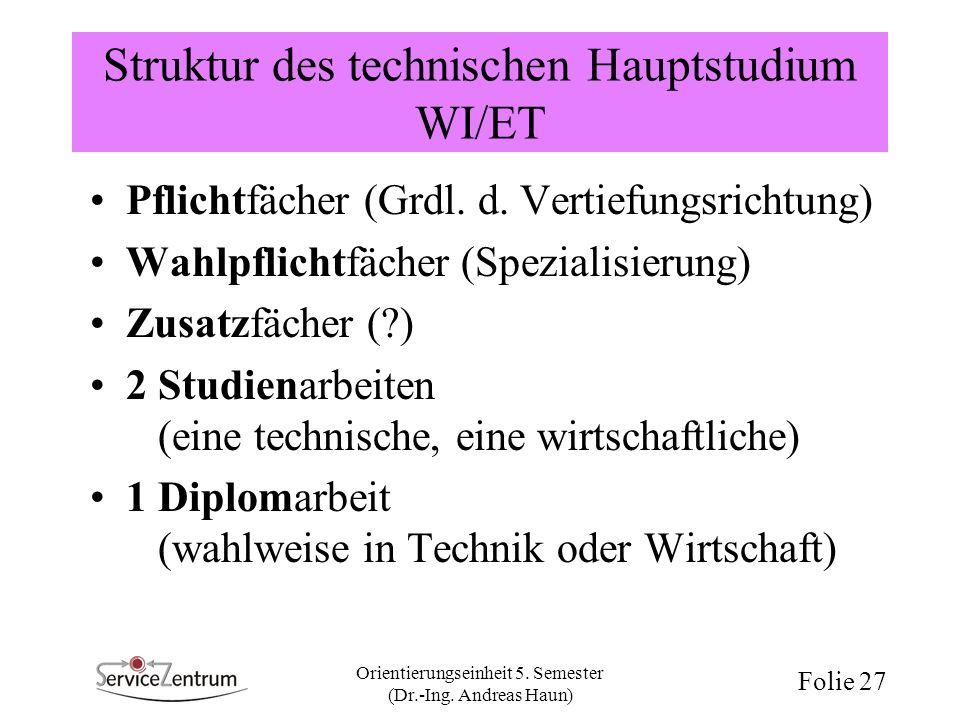 Struktur des technischen Hauptstudium WI/ET