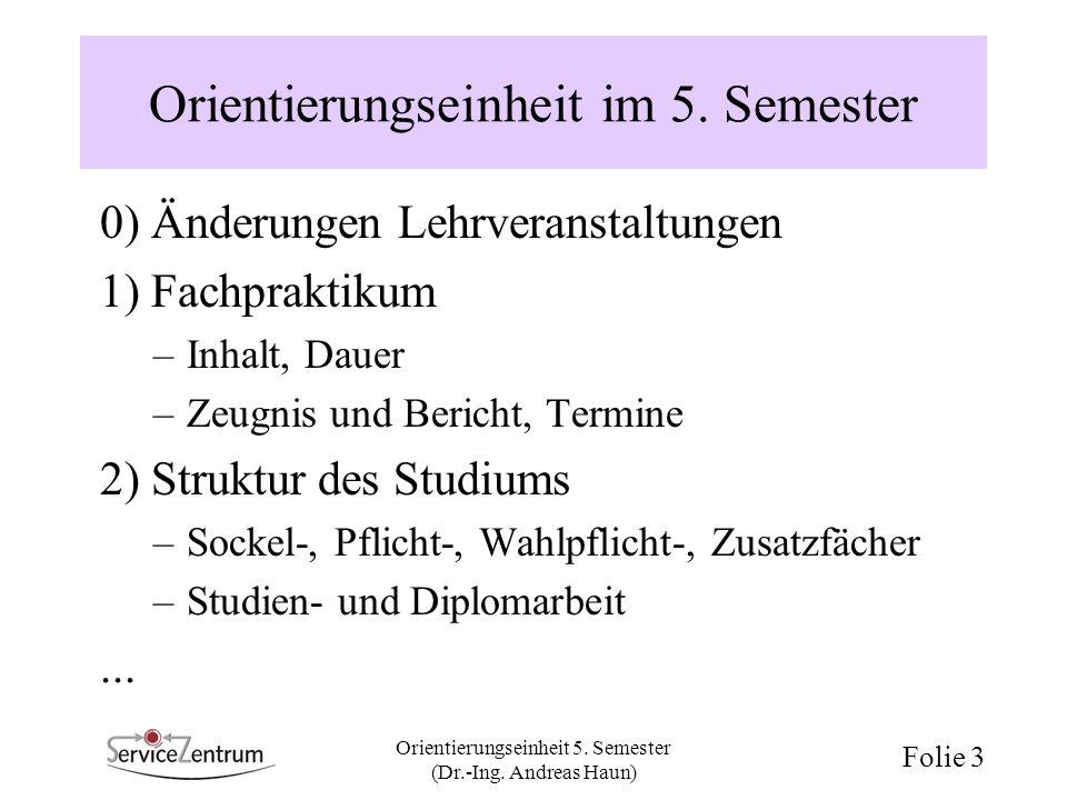 Orientierungseinheit im 5. Semester