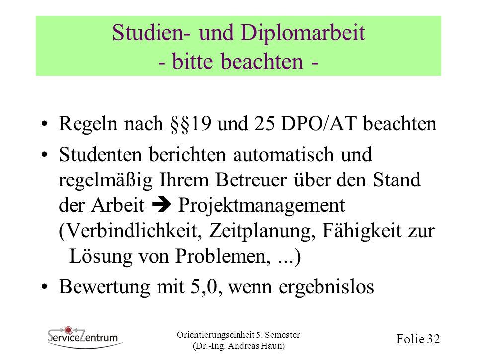 Studien- und Diplomarbeit - bitte beachten -