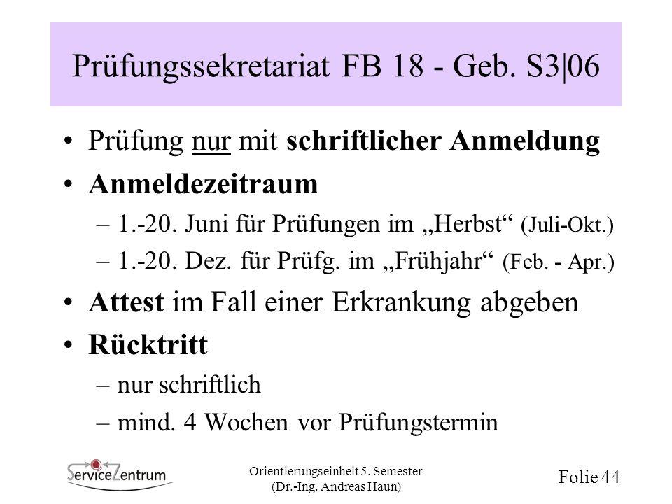 Prüfungssekretariat FB 18 - Geb. S3|06